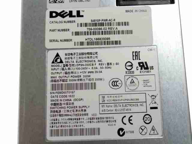 New Dell DPSN-350CB Force 10 S4810P 350W Reverse Airflow Power Supply Q7 8C7NT
